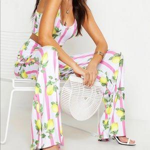 Boohoo Matching Set Bralet & Wide Leg Trouser NWT